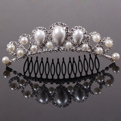Silver Plated Classic Pearls (Imitation) Hair Comb Rhinestone Hair Clip for Women Wedding Jewlery