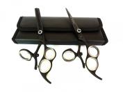 Thumb Swivel Hairdressing Scissors & Thinner Hair Cutting Shears Barber Salon Scissors Set 15cm Japanese Steel with Case Black Razor Edged