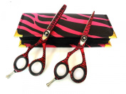 Left Hand Hairdressing Scissors Professional Hair Cutting Barber Shears Left Handed 14cm Japanese Steel with Case Razor Edged Pink Zebra