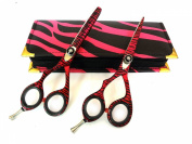 Left Hand Hairdressing Scissors Professional Hair Cutting Barber Shears Left Handed 14cm Japanese Steel with Case Razor Edged Pink Zebra