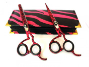 Professional Hairdressing Scissors & Thinner Hair Cutting Shears Barber Salon Styling Scissors Set 14cm Japanese Steel with Case Razor Edged Pink Zebra