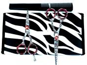 ZZZRT White Zebra Japanese J2 Stainless Steel Pro Razor edge Barber Hair Cutting Scissors Shears Set 11cm & 14cm with Comb + Free scissors Lubricant & scissors insert rings