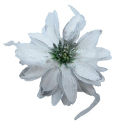 Beautiful White Double-Sided Flowers w/ Glitter & Matching Feathers Hair Clip