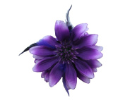 Beautiful Purple Double-Sided Flowers w/ Glitter & Matching Feathers Hair Clip
