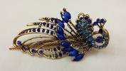 Gorgeous Vintage Jewellery Crystal Rhinestone Peacock Fashion Hair Clips Hair Pins Hair Sticks - Large Size - Sapphire Blue Colour -For Hair Beauty Tools