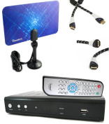 iView HDTV 3500STB DTV Converter Box BUNDLE + Flat Digital Indoor Tv Antenna + Aurum HDMI cable and Remote control