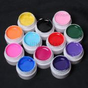WindMax(R) Professional 12 PCS Solid Pure Mix Colour Uv Builder Gel False Tips Acrylic Nail Art Set for Beauty Salon Shop