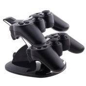 eForCity® Dual Charge Station with Stand Compatible with PS3 Controller, Black