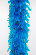 80 Gramme Chandelle Feather Boa 2 Yards - TURQUOISE w/ KELLY GREEN Hackle