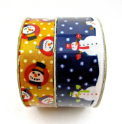 Jo-ann's Snowman Ribbon,twin-pack,blue with Snowmen,gold Polka Dots with Snowman Faces,1.6cm x 2.7m