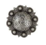 BS9162F-SRTP Antique silver plated 1.9cm Wide Engraved Berry Concho