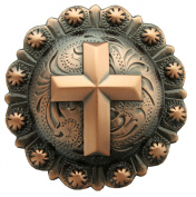 BS9279-COPPER Copper plated 2 and 1cm Wide Engraved Cross Berry Concho