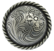 F9819-6-SRTP 2 and 1cm Round rope edge concho Antique Silver