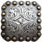 BS9291-1-SRTPGP 2.5cm Berry Square Concho Antique Silver and Gold