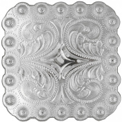 BS9291-SP 2 and 0.6cm Berry Square Concho Polished Silver