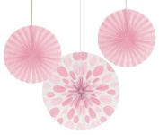 Club Pack of 18 Classic Pink Dots and Stripes Hanging Tissue Paper Fan Part Decorations 30cm & 41cm