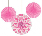 Club Pack of 18 Candy Pink Dots and Stripes Hanging Tissue Paper Fan Party Decorations 30cm & 41cm