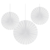 Club Pack of 18 Traditional White Hanging Tissue Paper Fan Party Decorations 30cm & 41cm