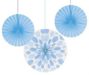 Club Pack of 18 Pastel Blue Dots and Stripes Hanging Tissue Paper Fan Party Decorations 30cm & 41cm
