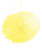 Club Pack of 36 Mimosa Yellow Fluffy Hanging Tissue Ball Party Decorations 41cm