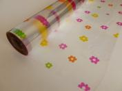 15m x 80cm Roll Multi Coloured Daisy Cellophane Wrap. Florist Quality Bouquet / Gift / ...