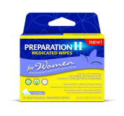 Preparation H Women's Flushable Medicated Hemorrhoid Wipes, Burning and Itching Relief with Cucumber, Aloe, Vitamin E, Shea Butter and Chamomile, Package