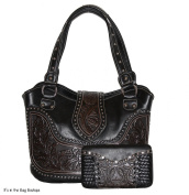 Concealed Carry Tooled Leather Shoulder Purse - Concealed Weapon Gun Bag w/ Matching Wallet By Montana West