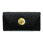 Designer Black Flap Id Golden Switch Lock Ostrich Credit Card Pockets L Wrist Wallet