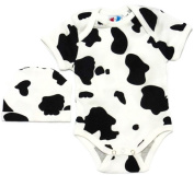 Ten Teeny Toes Cow Print Onesie Bodysuit and Hat White - Black Infant