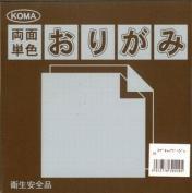 Kurasawa KOMA Both Sides Monochromatic Origami Paper - Dark Brown / Beige - 15cm, 100 Sheets