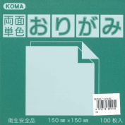 Kurasawa KOMA Both Sides Monochromatic Origami Paper - Green / Yellow - 15cm, 100 Sheets