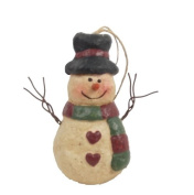 Craft Outlet Papier Mache Snowman with Red and Green Scarf, 11cm , Set of 6