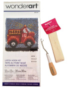WonderArt Fire Truck Latch Hook Kit 30cm x 30cm - Includes Kit, Hook, and 3 Yards of Rug Binding