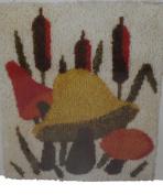 Vintage Caron Latch Hook Kit Mushroom and Cattails 20 X 27