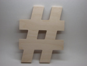 LetterWorx 20cm Wooden # Sign / Hash Tag Symbol - Arial Font | Unfinished Baltic Birch Wood Letter | 20cm Tall
