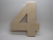 LetterWorx 20cm Wooden Number 4 - Arial Font | Unfinished Baltic Birch Wood Letter | 20cm Tall