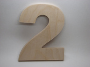 LetterWorx 20cm Wooden Number 2 - Arial Font   Unfinished Baltic Birch Wood Letter   20cm Tall