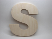 LetterWorx 20cm Wooden Letter S - Arial Font | Unfinished Baltic Birch Wood | 20cm Tall