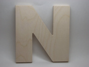 LetterWorx 20cm Wooden Letter N - Arial Font | Unfinished Baltic Birch Wood | 20cm Tall