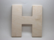 LetterWorx 20cm Wooden Letter H - Arial Font   Unfinished Baltic Birch Wood   20cm Tall