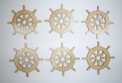 Ship Wheel Cut Outs Unfinished Mini Wheels 6.4cm Inch 6 Pieces SHW-06