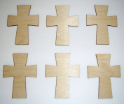 Wood Cross Unfinished Craft Mini Crosses 7.6cm Inch 6 Pieces C02-149
