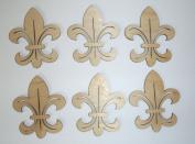 Fleur De Lis Unfinished Mini Cut Outs 7.6cm Inch 6 Pieces FLE025