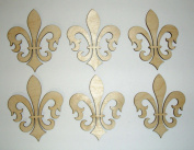 Fleur De Lis Unfinished Mini Cut Outs 7.6cm Inch 6 Pieces FLE024