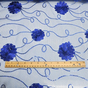 Royal Embroidered Net Fabric with Flowers and Sequins