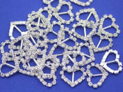 18mm Heart Crystal Rhinestone Buckles For Card Making and DIY Wedding Invitations - 10/CNT