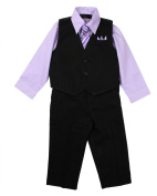 Toddler Boys Pinstripe Dress Shirt Vest & Pants Set Lilac
