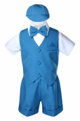 Unotux Teal Infant Boys Toddler Eton 5pc Formal Vest Shorts Set Suits Hat S-4T