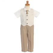 Lito Khaki Seersucker Vest Pant Suit Set Boys 12M-4T