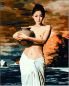 Diy oil painting, paint by number kit- Pottery female 16*50cm .